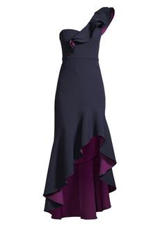 BCBG Max Azria One-Shoulder Ruffle High-Low Dress