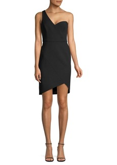 BCBG Max Azria One-Shoulder Stretch Crepe Wrap Dress