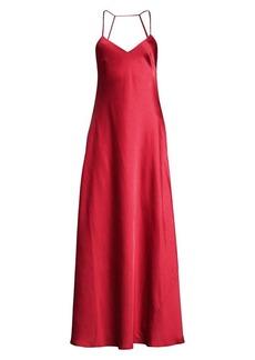 BCBG Max Azria Open-Back Satin Flare Gown