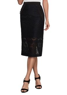 BCBG Max Azria Ornate Floral Lace Pencil Skirt