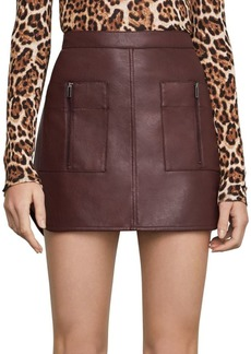 BCBG Max Azria Patch Pocket Faux Leather Skirt