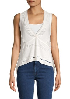 BCBG Max Azria Perforated V-Neck Knitted Top