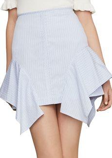 BCBG Max Azria Pinstripe Asymmetric Flared Cotton Pencil Skirt