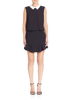 BCBG Max Azria Pinstripe Collared Popover Dress