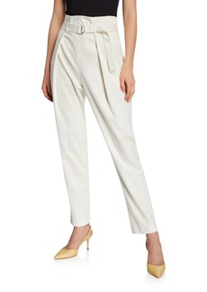 BCBG Max Azria Pleated Ankle Pants w/ Self-Tie