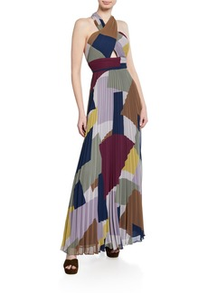 BCBG Max Azria Pleated Colorblock Halter Gown