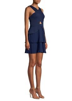 BCBG Max Azria Pleated Cutout Halter Dress