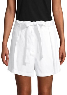 BCBG Max Azria Pleated-Front Cotton Belted Shorts