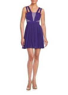BCBG Max Azria Pleated Lace Inset Dress