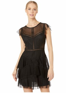 BCBG Max Azria Point D'Espirit Ruffle Short Cocktail Dress
