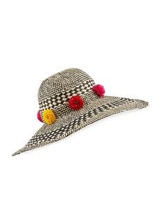 BCBG Max Azria Pom Party Woven Floppy Hat