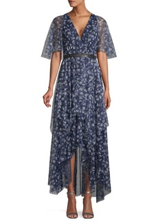 BCBG Max Azria Printed & Belted High-Low Dress