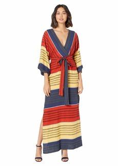 BCBG Max Azria Printed 3/4 Sleeve Maxi Dress