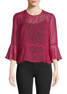 BCBG Max Azria Printed Bell-Sleeve Top