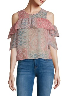 BCBG Max Azria Printed Cold-Shoulder Top