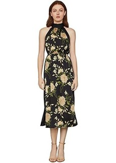 BCBG Max Azria Printed High Neck Midi