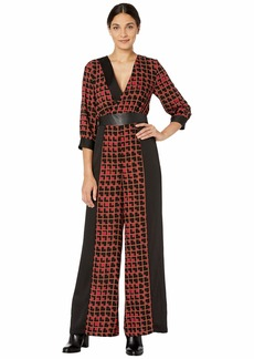 BCBG Max Azria Printed Long Sleeve Jumpsuit