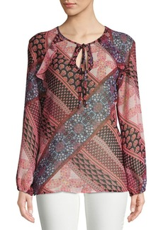 BCBG Max Azria Printed Long-Sleeve Top