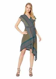 BCBG Max Azria Printed Matte Jersey Asymmetrical Hem Dress