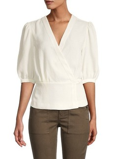BCBG Max Azria Puffed-Sleeve Wrap Top