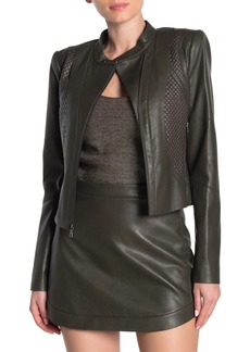 BCBG Max Azria Quilted Faux Leather Moto Jacket