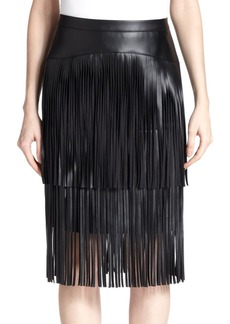 BCBG Max Azria Rashell Faux-Leather Fringe Pencil Skirt