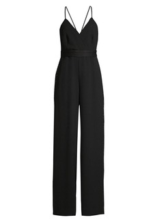 BCBG Max Azria Rhinestone Side-Stripe Crepe Jumpsuit