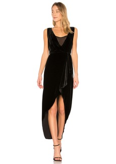 Ria Asymmetrical Wrap Dress In Black