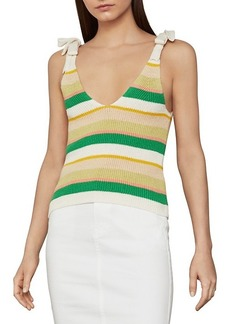 BCBG Max Azria ​Ribbed Bow Tie Cotton-Blend Tank Top