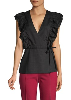 BCBG Max Azria Ruffle Cotton Wrap Top