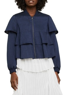 BCBG Max Azria Ruffle Cropped Jacket