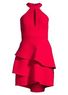 BCBG Max Azria Ruffle Keyhole Mini Dress