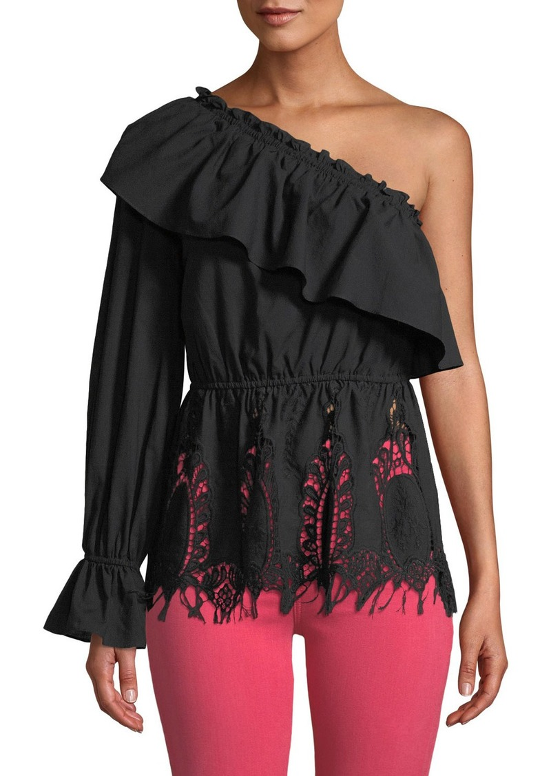 BCBG Max Azria Ruffle Lace-Embroidered One-Shoulder Top