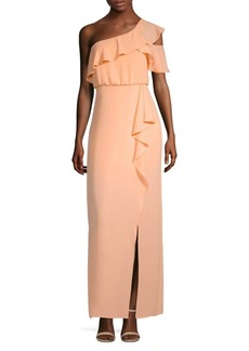 BCBG Max Azria Ruffle One-Shoulder Gown