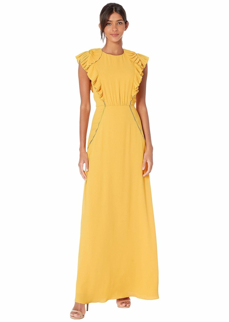 BCBG Max Azria Ruffle Shoulder Evening Gown