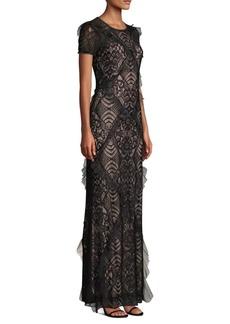 BCBG Max Azria Ruffle Trim Lace Gown