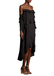 BCBG Max Azria Ruffle-Trimmed High-Low Dress