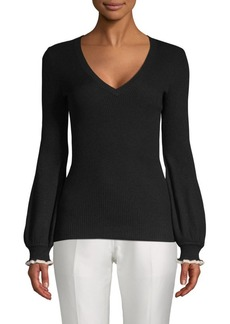 BCBG Max Azria Ruffled Bishop-Sleeve Sweater