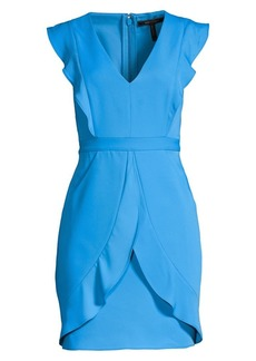 BCBG Max Azria Ruffled Cap Sleeve Mini Sheath Dress