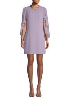 BCBG Max Azria Ruffled Cape-Sleeve Dress