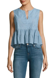 BCBG Max Azria Ruffled Cotton Crop Top