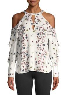 BCBG Max Azria Ruffled Floral Cold-Shoulder Top