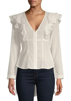 BCBG Max Azria Ruffled Long-Sleeve Top
