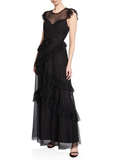 BCBG Max Azria Ruffled Point D'Esprit Mesh Gown