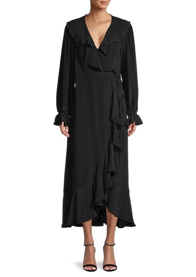 BCBG Max Azria Ruffled Silk Wrap Dress