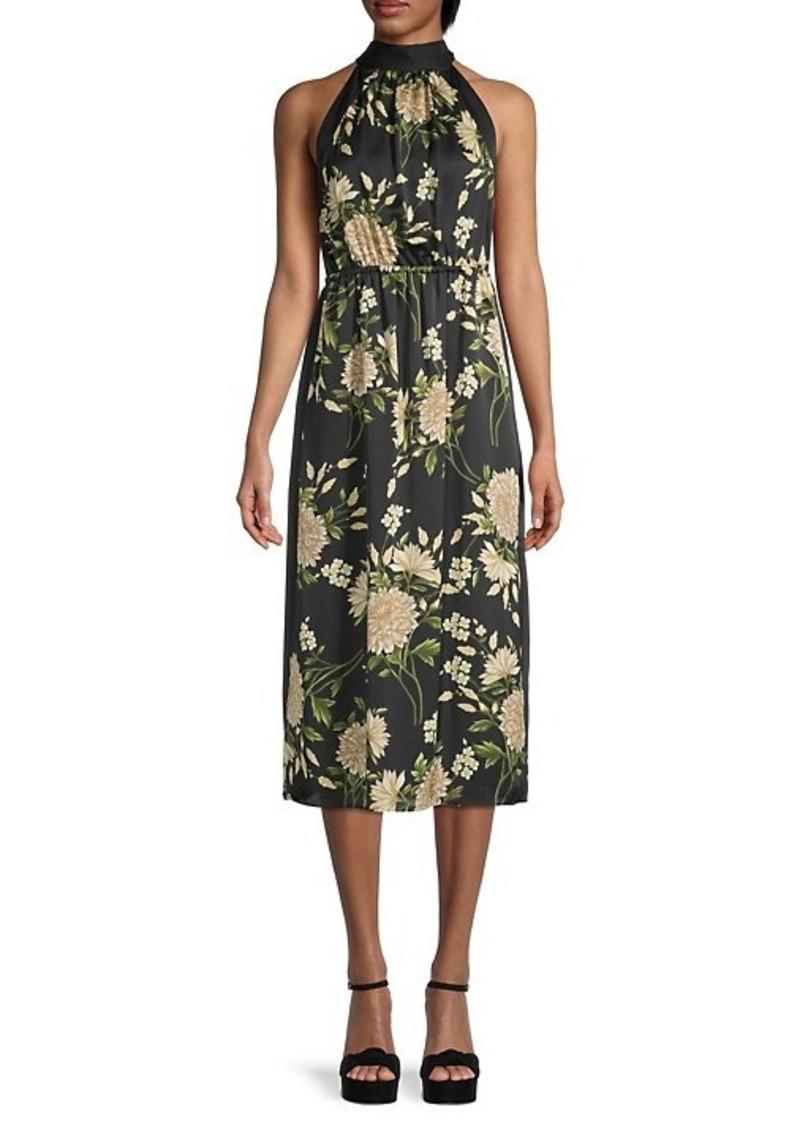 BCBG Max Azria Satin Floral Halter Dress