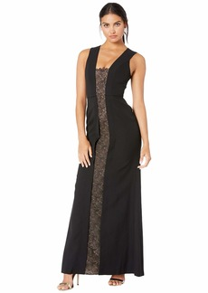 BCBG Max Azria Satin Gown with Lace Inset