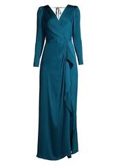 BCBG Max Azria Satin Wrap-Effect Gown