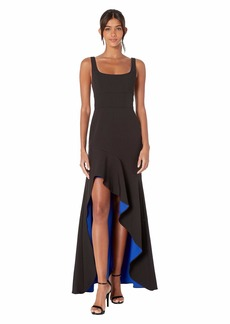 BCBG Max Azria Scoop Neck High-Low Gown