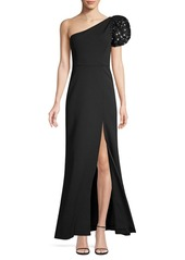 BCBG Max Azria Sequin Puff-Sleeve One-Shoulder Gown